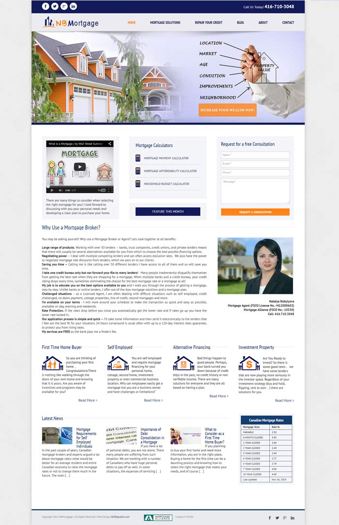 SEORepublic Web Design and SEO Toronto Portfolio NBMortgage